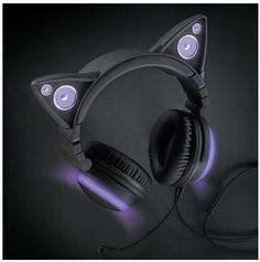 Brookstone Wired Purple Cat Ear Headphones with External Speakers For Sale