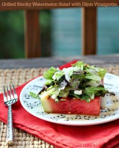 I have to make this! Healthy, Low Calorie, Low Fat, Grilled Smoky Watermelon with Dijon Vinaigrette www.fooddonelight.com