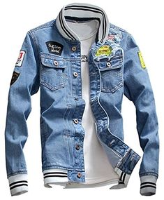 KAMUON Men's Denim Jacket Casual Slim Fit Jean Collage Varsity Baseball Jacket US M = Asian Tag : Bust PatchworkLight Blue >>> You can find more details by visiting the image link. (This is an affiliate link) Denim Jacket Patches, Lined Denim Jacket, Denim Jacket Men, Leather Jacket, Denim Jackets, Jean Jackets With Patches, Women's Jackets, Denim Jeans, Denim Shirts