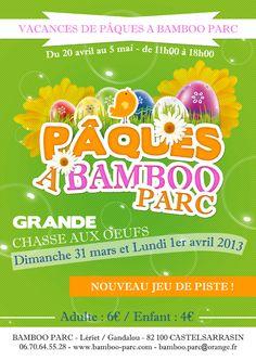 Auch hier werden Eier gesucht, der Park  ist eine wahre Oase, hat schöne Spielmöglichkeiten für Kinder ohne zu kommerziell zu wirken. Bamboo Parc - Castelsarrasin 82 - Tarn et Garonne - Bambous - Parc naturel