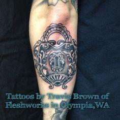 #tattoos#fleshworkstattoostudio#Olympia#WA#TravisBrown#lock#blackandgrey#inkedup