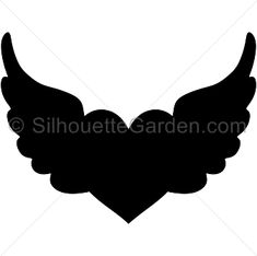 Heart with wings silhouette clip art. Download free versions of the image in EPS, JPG, PDF, PNG, and SVG formats at http://silhouettegarden.com/download/heart-with-wings-silhouette/