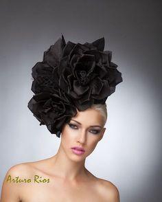 Couture Black Silk roses headpiece with veil Black by ArturoRios, $269.00 Fascinator ,cocktail hat, arturo rios hats