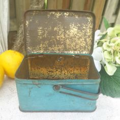 Blue decorative Tin basket lunch box pail w/ by WonderCabinetArts