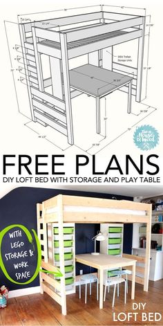 How to build a DIY Loft Bed with Storage and Play Table. #diy #loft #bed #kids #loftbed