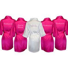 Bride & Bridal Party Robes - Diamante Text - 5 Pack