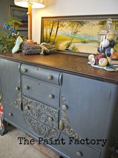 A wonderful buffet finished in a custom mix of Graphite & Paris Grey Chalk Paint® decorative paint by Annie Sloan | By The Paint Factory https://www.facebook.com/ThePaintFactory?ref=ts&fref=ts