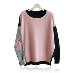 Pink,grey,blk color block sweater -- LOVE. Want.