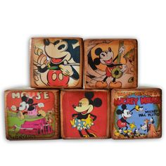 Mickey Mouse Vintage Wood Blocks, Minnie Mouse Personalized Custom Blocks, Disney's Wooden Name Blocks, Vintage Distressed Blocks, Disney