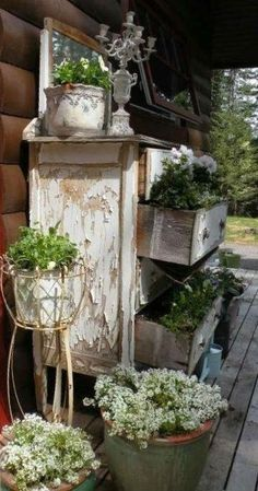 Rustic, but oh so charming old Farmhouse Porch Dresser...with plants