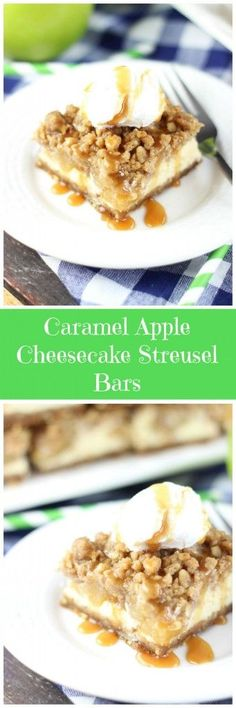 CARAMEL APPLE CHEESECAKE STREUSEL BARS WITH GINGERSNAP WALNUT CRUST! Almost every single favorite fall flavor in one delicious bar!