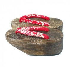 Okobo Geta Traditional Japanese Clogs For Women - White And Pink Flowers on Red Velvet, need a pair of these