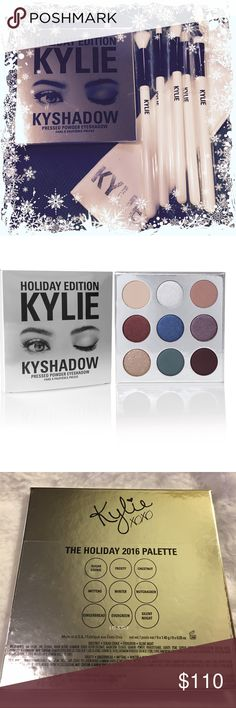 NWT Kylie Kyshadow Brush Set ❄️IN STOCK! ❄️Authentic Kylie Jenner Limited Edition Holiday Collection ❄️ NIB - Never opened or swatched ❄️ No trades please ❄️ Top 10% Seller5 Star RatingPosh Mentor Includes: 1 Holiday Kyshadow, 1 5-piece brush set Kylie Cosmetics Makeup Eyeshadow