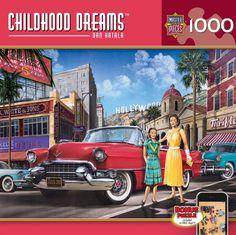 """Piece Count 1000 Pieces Artist Dan Hatala Puzzle Size 19.25"""" x 26.75"""" (49 x 68 cm) Age 13+ Theme Classic Cars / Automobiles / Street Scene Manufacturer Masterpieces UPC 705988713897"""