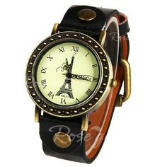 WoMaGe Quartz Watch with Roman Numbers Indicate Leather Watch Band for Women (Black)