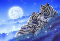 Обои для рабочего стола Семейство тигров отдыхающих на траве, на фоне луны и звезд в ночном небе. Художник Kentaro Nishino