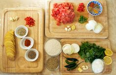 The ingredients for Chatamari (a Newari rice flour crepe). While the ingredients for the crepe are no more than rice flour and lentils made into a paste, the ingredients for the toppings can be endless!