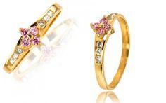 Zlatý dámsky prsteň so Swarovski kryštáľmi zo 14 karátového zlata