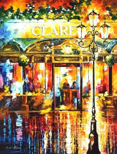 "Misty Cafe 2 — PALETTE KNIFE Modern Oil Painting On Canvas By Leonid Afremov - Size: 30"" x 40"""