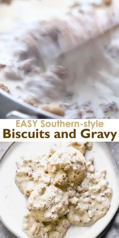 An easy, southern-style sausage gravy with flaky homemade biscuits makes the BEST Biscuits and Gravy! One of our favorite breakfast recipes of all time! # breakfast recipes Best EVER Biscuits and Gravy Easy Gravy Recipe, Southern Gravy Recipe, Southern Biscuits And Gravy, Southern Sausage Gravy, Biscuts And Gravy Recipe, Breakfast Gravy Recipe Easy, Homemade Breakfast, Easy Sausage Gravy, Gourmet