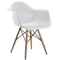 @Overstock.com - Wood Pyramid Arm Chair in White - With its ultra-modern lines and sleek finish, this contemporary wood arm chair is sure to become a focal point in any room. Crafted with a chrome-finished steel base and a molded plastic seat, the chair is both stylish and comfortable.  http://www.overstock.com/Home-Garden/Wood-Pyramid-Arm-Chair-in-White/6673407/product.html?CID=214117 $119.99