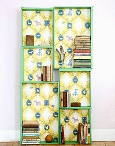 bookcase made from upcycled drawers - in black this would be a great display for apothecary items for halloween
