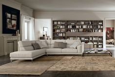 "Divani angolari componibili: una ""L"" per arredare il soggiorno - Cose di Casa Dream House Exterior, Dream House Plans, Bookshelf Design, Bookshelves, Modern Farmhouse Plans, Space Architecture, Cozy Bedroom, Modern Luxury, House Rooms"