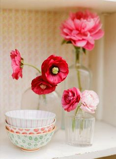 vase, red, dahlia, peony, real, poppy, centerpieces