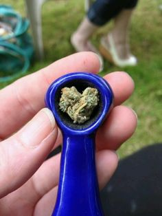 Heart shaped weed bowl in blue pipe.  I love weed!