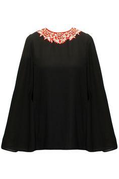 Black floral embroidered cape J by JANNAT. Latest Designer Sarees, Designer Dresses, Indian Attire, Indian Wear, Salwar Kameez, Long Shrug, Tunic Designs, Fashion Themes, Pakistan Fashion