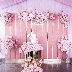 I absolutely adore the use of the pampas grass splaying to the right of the feature. The metallic balloons and… Diy Wedding Garland, Wedding Stage Decorations, Backdrop Decorations, Pink Backdrop, Wedding Backdrops, Ceremony Backdrop, Outdoor Ceremony, Baby Girl Shower Themes, Backdrops For Parties