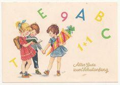 Schulanfang Ak Kinder mit Buchstaben EP signiert um 1955 DDR ! (A511 in Sammeln & Seltenes, Ansichtskarten, Motive | eBay