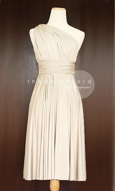 Short Straight Hem Champagne Bridesmaid Convertible Infinity Dress Multiway Wrap Prom Dress Maid of Honor