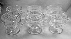 """Indiana Colony WHITEHALL Clear Cube Pedestal Punch Cup 2 7/8"""" USA (Set of 6) #IndianaColonyGlass"""