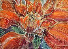 Art: DAHLIA FLORAL BATIK ABSTRACT by Artist Marcia Baldwin