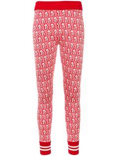 Mushrooms Jacquard Knitted Legging, Red