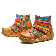 Designer SOCOFY Retro Printing Pattern Flat Ankle Leather Boots - NewChic Mobile