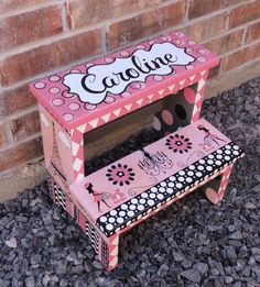 Children's Hand Painted Step Stool by CuteKidCreations on Etsy, $100.00