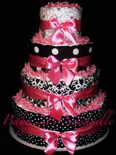 Diaper Cake for Girls Damask Diaper Cake - http://www.babyshower-decorations.com/diaper-cake-for-girls-damask-diaper-cake.html