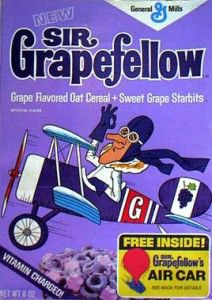 Sir Grape-Fellow Cereal (1972) Of course it turned the milk a luscious lilac color too. And nothing says cool better than a scarf and aviator goggles! Where have you gone, Sir Grapefellow? Tally-ho!