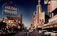Freemont Street.  Horseshoe Club and Golden Nugget. Las Vegas, NV  www.cardcow.com