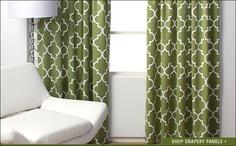 Green drapery panels