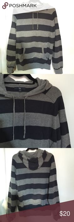 GAP Men's pullover hooded striped sweatshirt sz L GAP Men's pullover hooded striped sweatshirt sz L. Navy blue and gray. Great hoodie for fall! GAP Sweaters
