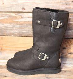 UGG Australia Womens Sutter Black Leather Sheepskin Motorcycle Boots US 7 UK 5.5 #UGGAustralia #
