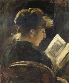 Reading Girl. Lovis Corinth (1858-1925). German Impressionism.