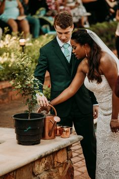 What a unique unity at Clark Gardens. Planting a tree goes right along with the garden theme. Photo Credit: The Burrow Clark Gardens, The Burrow, Garden Theme, Garden Wedding, Planting, Photo Credit, Unity, Channel, Wedding Dresses