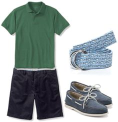 Classic mens fashion for summer - shorts, a polo, and sperrys