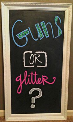 Gender reveal party theme: Guns or Glitter?  Or do ' hoops or hair bows'.  Or. ' hot wheels or hair bows'