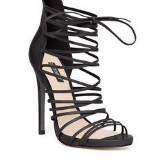 Strappy elegant black heels