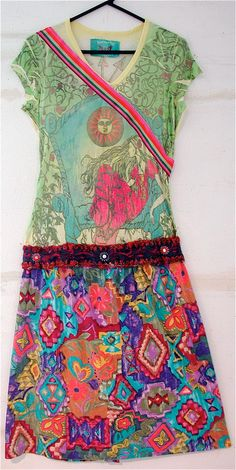 BUTTERFLY Dropout Upcycled Wearable  Folk Art DRESS by mybonny